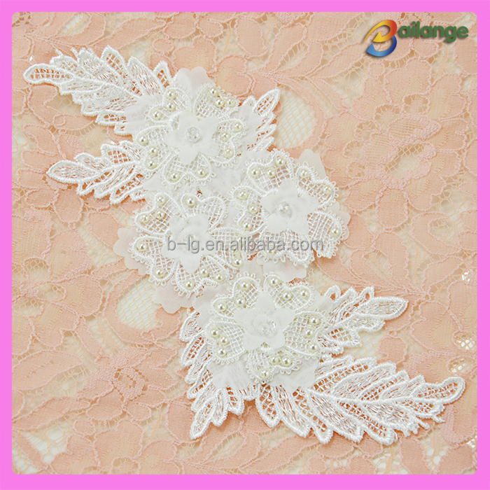 2016 wholesale new high quality lace applique pearl lace motif for wedding dress AK-01351