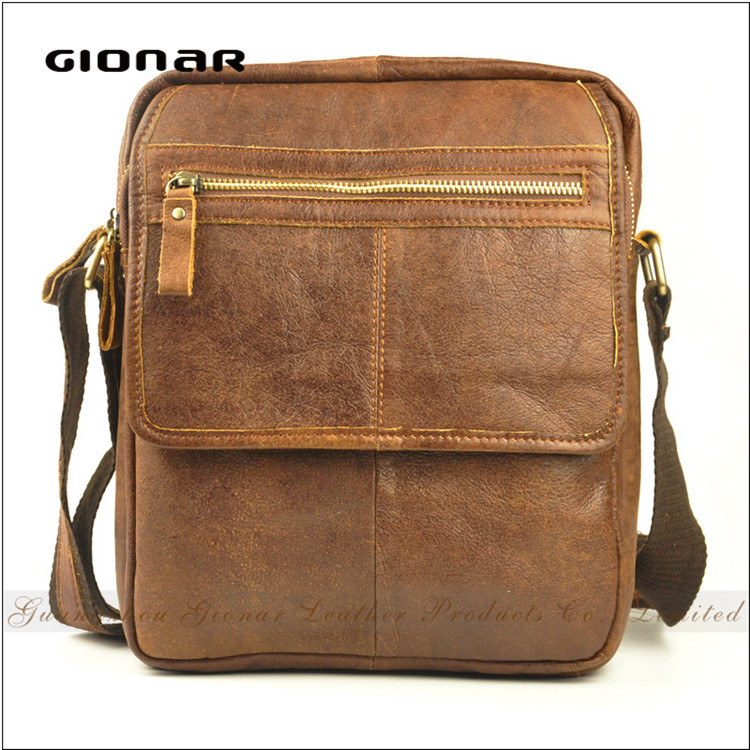 Guangzhou Genuine Leather Single Shoulder Crazy Horse Men Sling Bag
