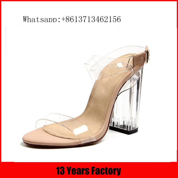 2016 hot selling crystal upper clear heel girl shoe for woman