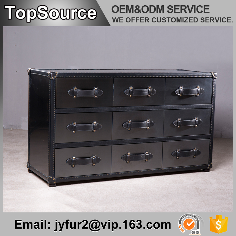 retro style 9 drawers wooden corner drawer chest with leather covered
