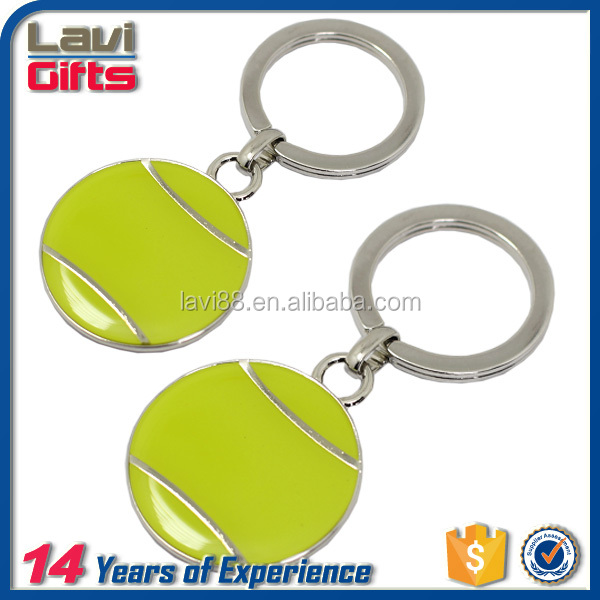 New design custom metal tennis ball keychain