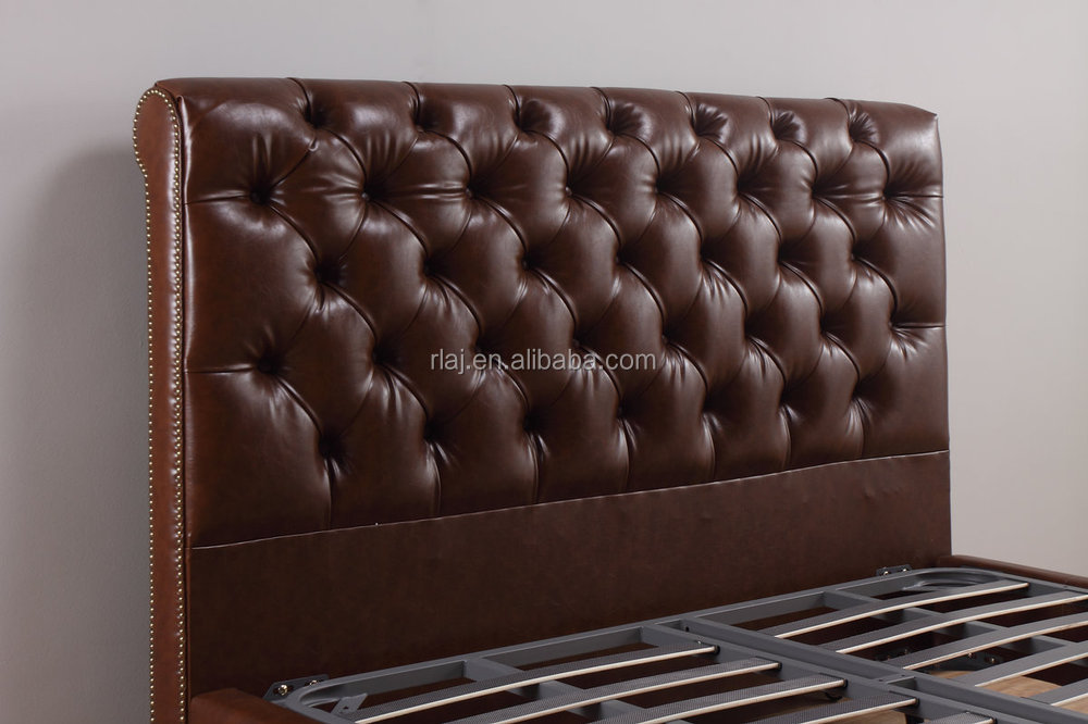 faux leather upholstered sleigh bed, nailhead studded headboard and footboard, wooden legs, king, chocolate
