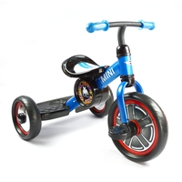 Blue color three wheel learning bike for kids