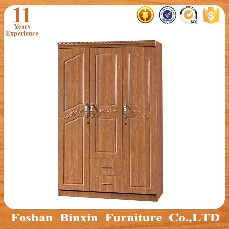 Home furniture wooden wardrobe 3 door closet cheap pvc godrej almirah furniture