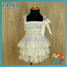Hottest !!! Ivory Flower Girl Lace Dress Wholesale Smocked Clothing christening gowns for girls