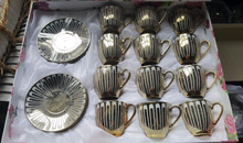 Chaozhou Factory Stock Teaware Royal Style Porcelain 24pcs Tea Coffee cups set Silver and Golden Color Cup and Saucer Set