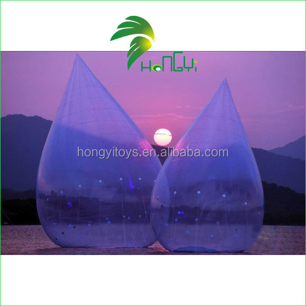 Customized Airtight Transparent Inflatable Floating Buoy , Inflatable Water Drop Balloon Model For Sale