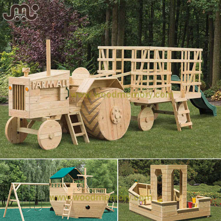 Unfinished smooth tractor shape wooden kids play area