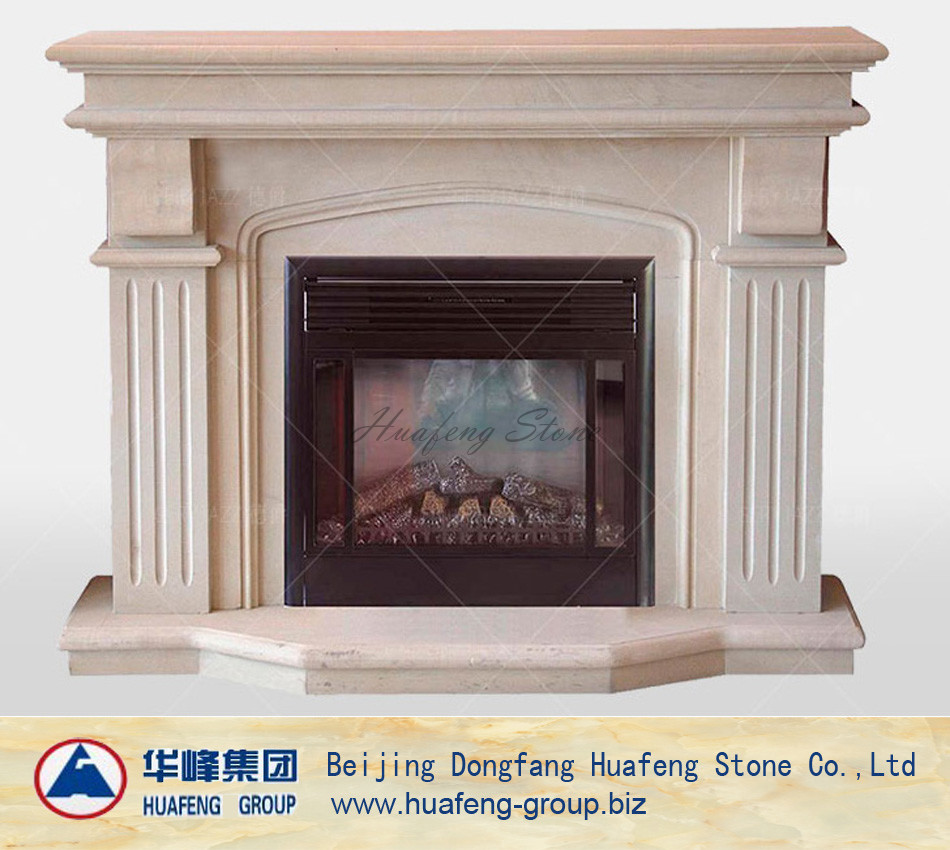 Indoor yellow marble fireplace surround