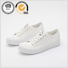 Women's Fashion lace-up white canvas shoes wholesale classic comfy sneaker