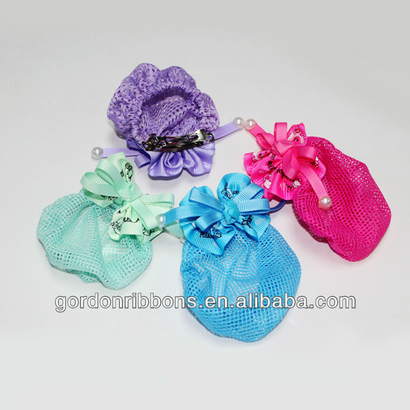 Mix color adult hair bow with net