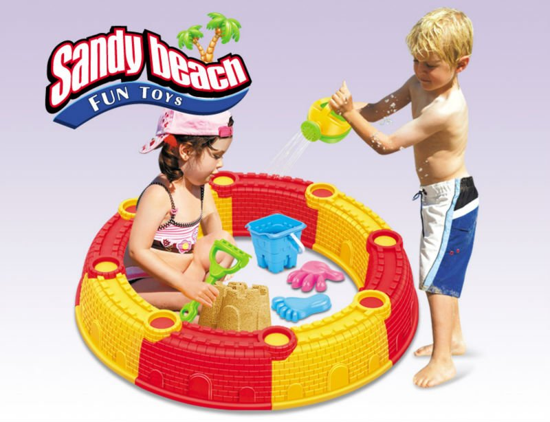 hot summer products plastic sand box toys beach castle wall toy set