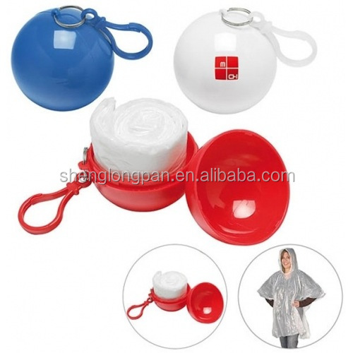 Wholesale Emergency Disposable Rain Poncho With Keychain Ball