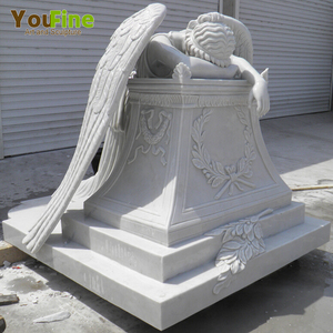 White Marble Stone Weeping Angel Tombstone