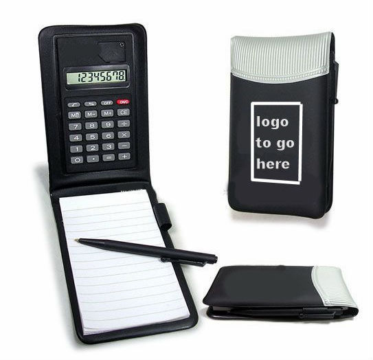 Pocket leather calculator notebook with pen leather cover notebook calculator