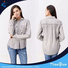New fashionable factory supplier comfortable wholesale special design jean shirt women picture