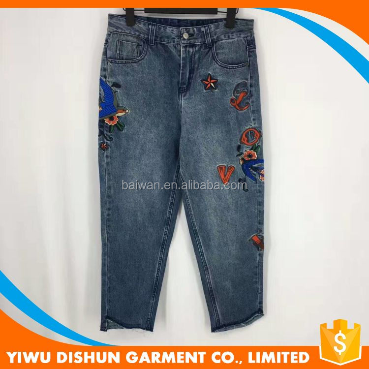 Women wholesale hot selling embroidery denim jeans