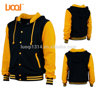 2017 LuoQi Wholesale 100% Cotton French Terry Custom Label Hoodie Baseball Varsity Jacket