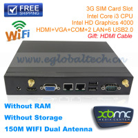 Barebone Mini PC Desktop Computer 3G SIM Card Mini ITX PC Case 20*20*3CM HTPC Intel Core i3 Mini Linux Server XBMC Openelec