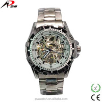 Silver color chinese cheap metal mechanical watch wholesale
