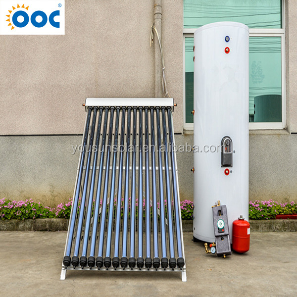 Single copper coil heat exchange spilt pressurized solar water heater system