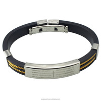 Mens Stainless Steel Spanish Prayer fashion bracelet with gold cable