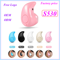 Wholesale free gift noise cancelling S530 invisible super mini stereo bluetooth headset wireless