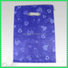 "LDPE/HDPE 12""*15"" purple color print heart plastic shopping die cut bag with handle"
