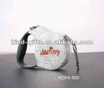 Durable Rhinestone Bling Bling Pet Accessary Personalized Plastic Retractable Dog Leash With Logo