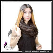 CX-S-120A Women Knitted Real Rabbit Fur Cheap Promotional Scarf