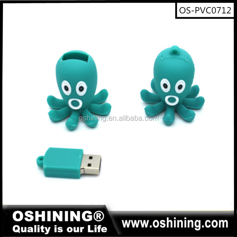 promotional custom PVC cute Octopus usb flash drive in bulks(OS-PVC0701)