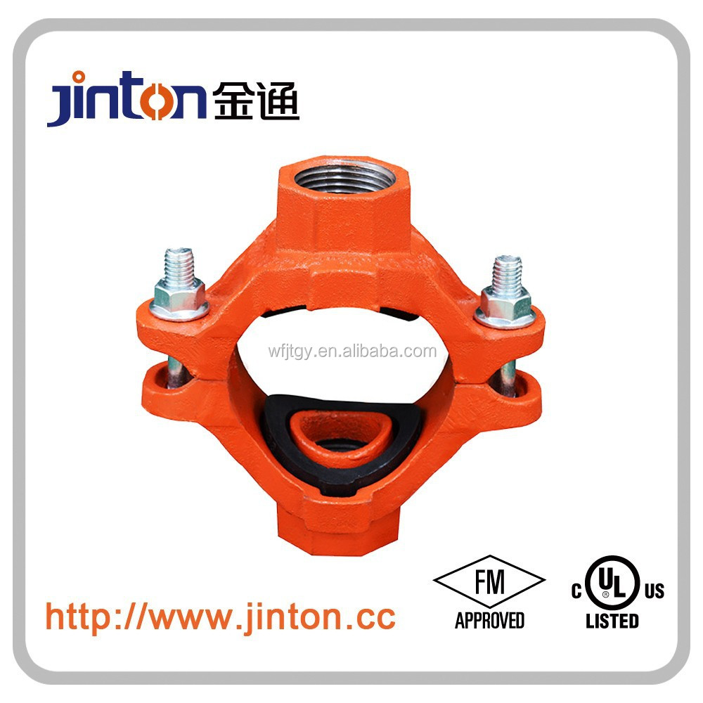 FM UL approved cast iron threaded 4 way pipe fittings of mechanical cross