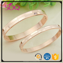 Latest Design Stainless Steel Rose Gold Plated Double Arrows Women Spring Open Bangle