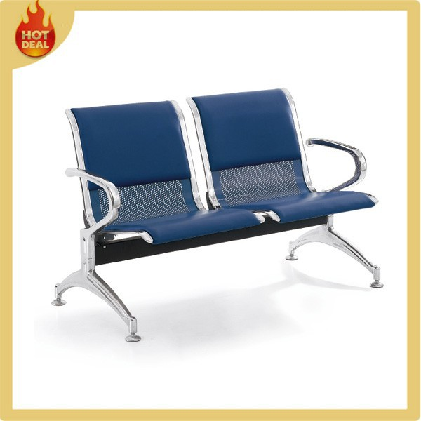 Metal 2 seater airport seating chair with PU