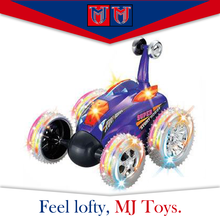 2017 Newest plastic rc stunt toy car light 360 degrees for kids