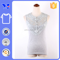 Appliqued special elegant lace neckline shirt clouse cut custom button placket t-shirt