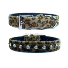 Free shipping!animal fur printed crystal Dog Collar