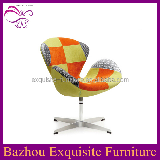 Modern rotating fabric seats and back stainless steel dining chair