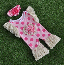 Soft baby summer lace ruffle polka dot cotton romper