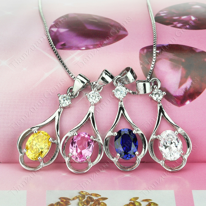 water- drop pendant oval shape sapphire gemstone with 925 sliver for necklace