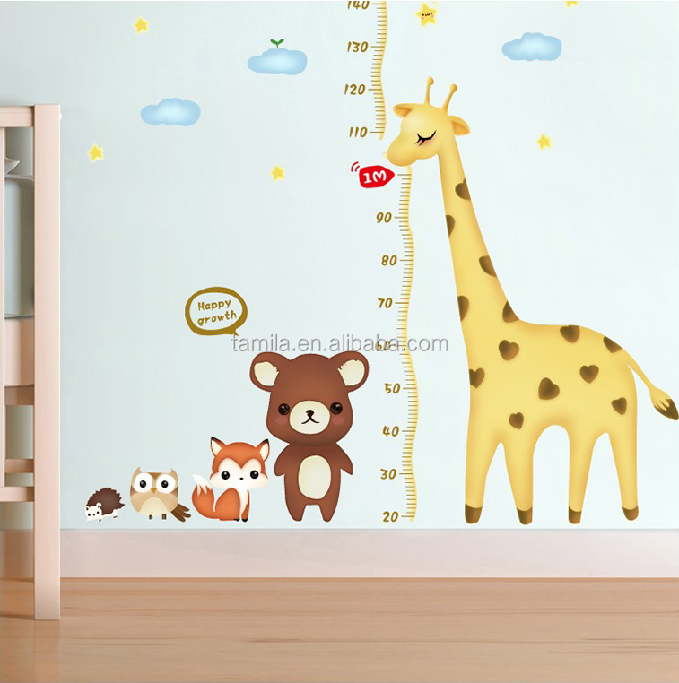 Kids Cartoon Giraffe Removeable Animal PVC wall stickers child Height ruler