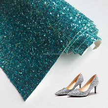 Shiny Big Sequins Glitter PU Leather Fabric for Lady Shoes High Heel Shoes