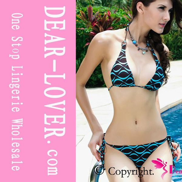 Halter Lip Bikini Top with G-string Bikini Swimwear