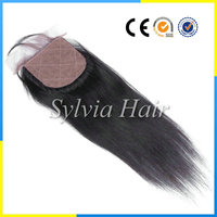 Cheap Indian human hair silk silk base top lace front closure with baby hair 4by4straight
