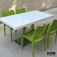 4 people solid surface dining table and chair