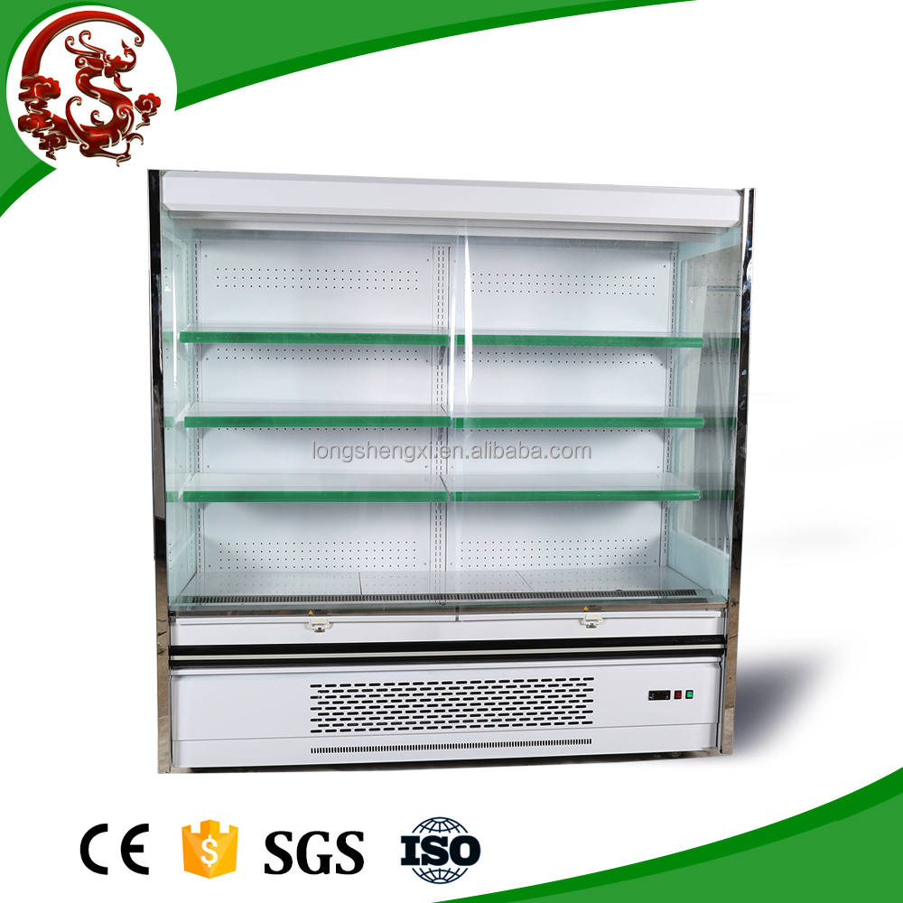 Supermarket fruit and vegetable display freezer with transparent screen