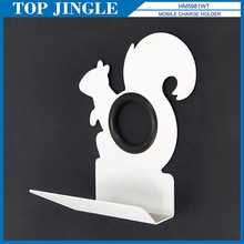 Squirrel Shaped White Metal Desktop Cell Phone Charger Holder