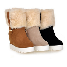 DL20284B 2017 wholesale new fashion suede wedge fur warm ladies winter snow boots