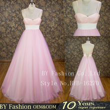 New designs Spaghetti strap Pink Tulle Princess Ball Gown Wedding Dress 2016