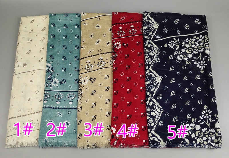 Fashion design girl's printed floral scarf /shawls cotton scarves warm winter Muffler wrap head muslim hijab pashmina